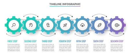 Business mechanism Infographic design template with icons and 7 options or steps. Can be used for process diagram, presentations, workflow layout, banner, flow chart, info graph. Ilustracja