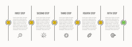 Vector Infographic thin line design with icons and 5 options or steps.