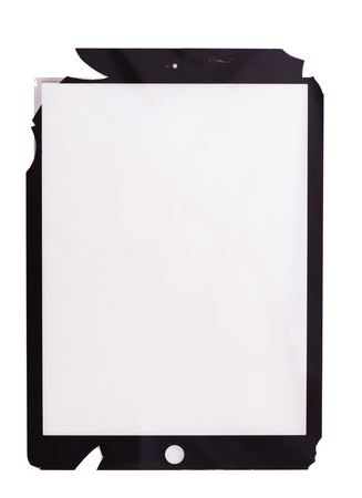 Broken touchscreen of the black tablet isolated on white background Stock Photo