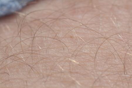 Close up detail of human skin with hair. Man hairy leg macro.