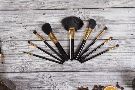 Professional makeup brush set. Powder brush set lined