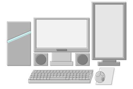Gaming PCs and peripherals Ilustración de vector