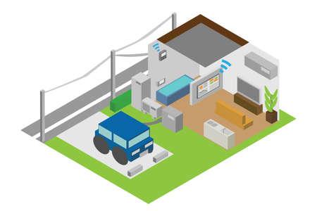 Homes with isometric HEMS Vector Illustratie