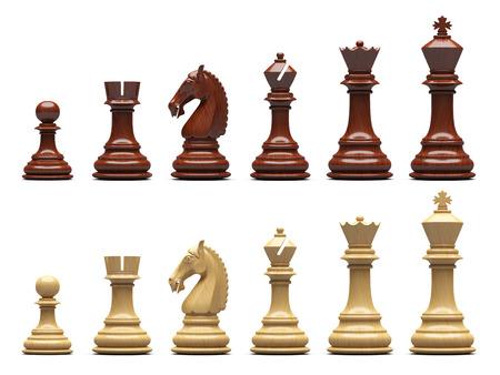 chess: Piezas de ajedrez de madera aisladas Foto de archivo