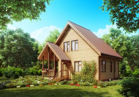 Suburban wooden house  Cozy home exterior  Stock Photo