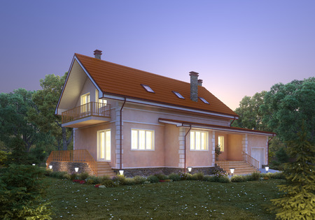 suburban: Suburban house at dusk  Cozy home exterior
