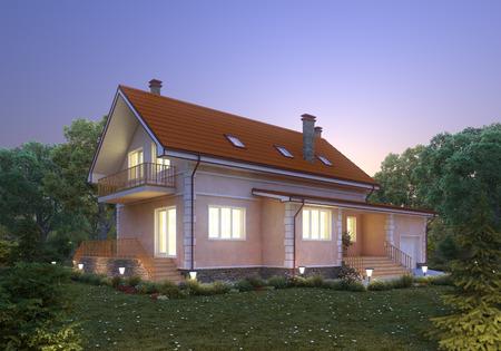 suburban: Suburban house at dusk  Cozy home exterior