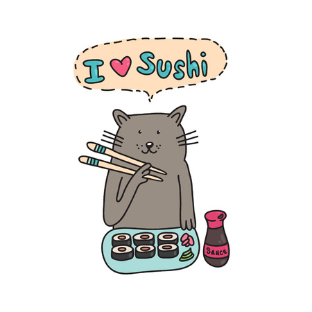 Card with the image of a cat who eats sushi. Can be used as a print for t-shirts, cell phone cases and other products. Vector