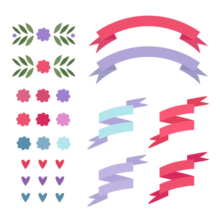 Set of flat isolated elements: ribbons, hearts, wreaths. Vector