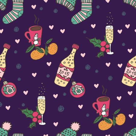 chocolat chaud: Seamless ambiance de No�l. De les attributs du Nouvel An: champagne, mandarines, tricoter des chaussettes, chocolat chaud, vin chaud, cannelle, jouets de No�l, une branche de gui