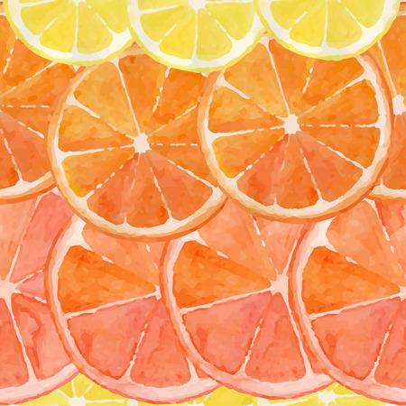 水彩のオレンジ、レモン、グレープ フルーツのスライスから作られるパターン  イラスト・ベクター素材