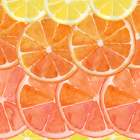 Pattern made from slices of watercolor orange, lemon, grapefruit