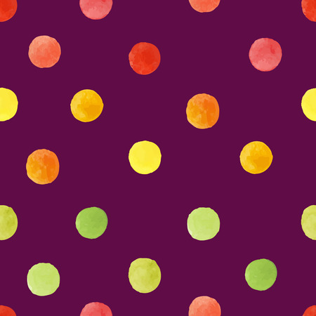 Pattern of red yellow and green watercolor circles Vector