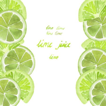 Carte d'aquarelle avec des tranches de citron vert sur fond blanc Banque d'images - 35775868