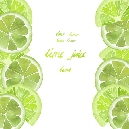 Watercolor card with slices of lime on white background