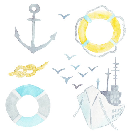 watercolor technique: ship, anchor, life preservers, birds, marine knot on white background, in watercolor technique Illustration
