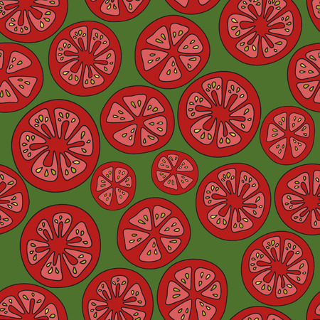 tomato slices: Pattern of the tomato slices on a green background