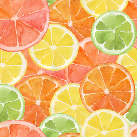 Pattern made from slices of watercolor orange, lemon, grapefruit, lime