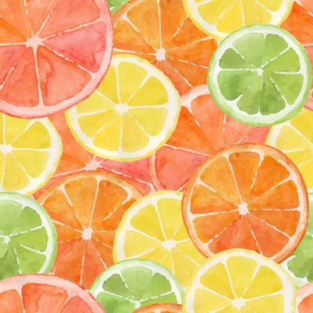 Pattern made from slices of watercolor orange, lemon, grapefruit, lime Illustration