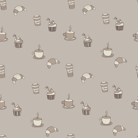Pattern coffee mugs, croissants, cakes Vector