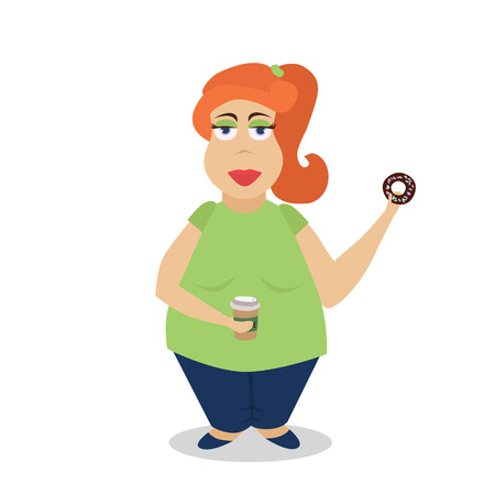 plump lips: Cartoon fat girl with donuts and coffee, painted in flat trend style