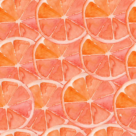 Grapefruit, bright watercolor pattern