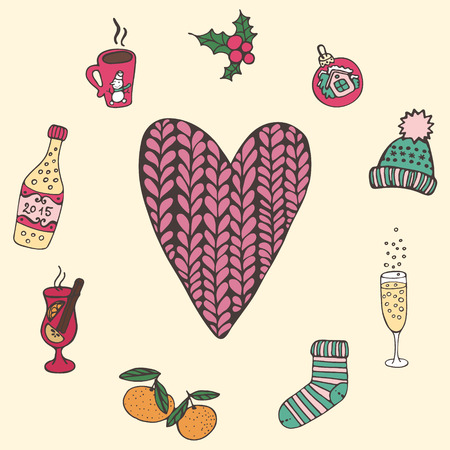 Card with heart in the middle and Christmas trappings Illustration