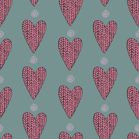 woolen: Pattern of pink woolen hearts and snowflakes