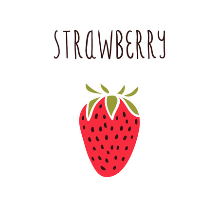 Vector hand drawn isolated strawberry with the inscription Vector