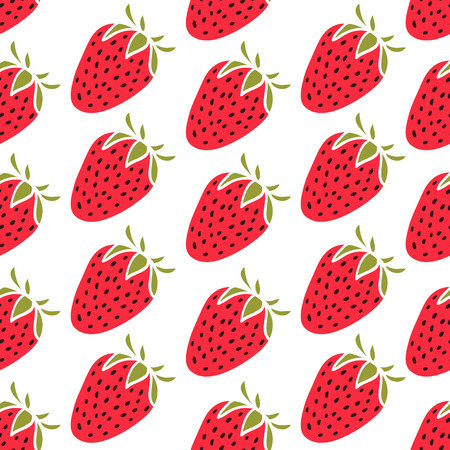 Cute pattern with strawberries, green leaves on a beige background Vector