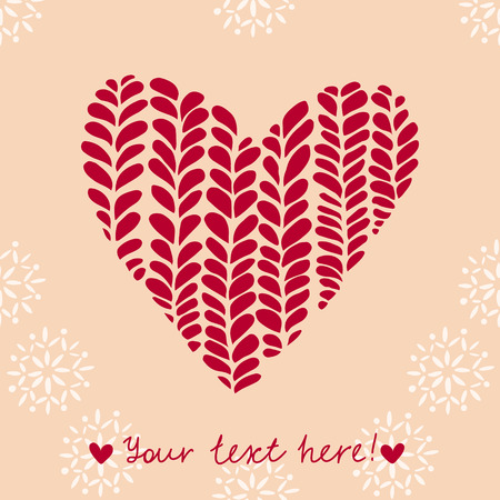 Red knitted heart on a beige background with snowflakes Vector