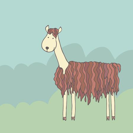 Cartoon funny alpaca on a green meadow Vector