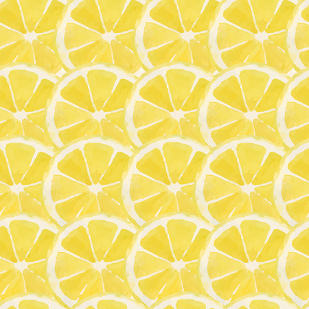 レモン、明るい水彩パターン  イラスト・ベクター素材