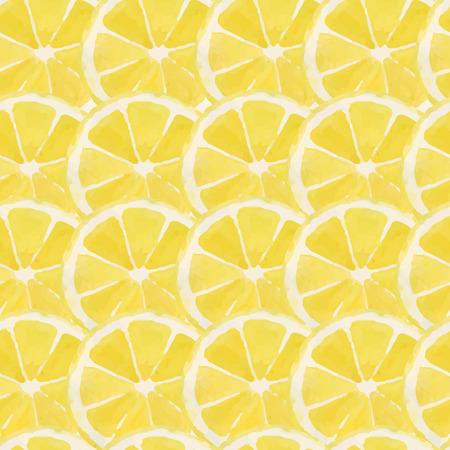 레몬, 밝은 수채화 패턴 일러스트