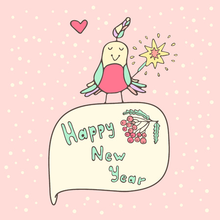 bengal light: Christmas card with colorful bird and a sparkler on a pink background Illustration