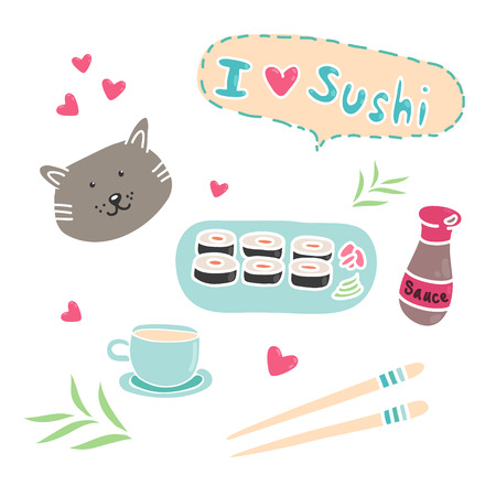 soy: Asian cuisine - set (rolls, the inscription I love sushi, chopsticks, circle, bamboo, soy sauce) Illustration