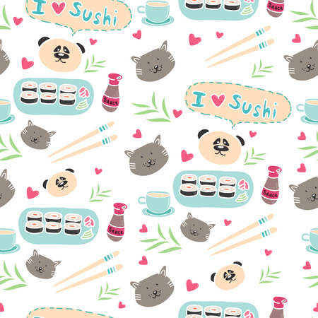 Cute pattern with Asian food, muzzles cat and panda on a white background Vector