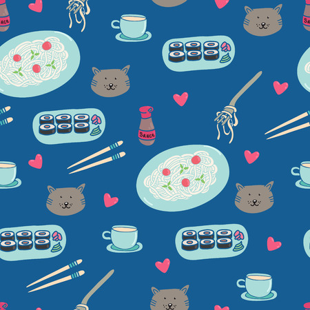 Funny pattern with a cat, a heart and a meal (pasta, sushi, drink, sauce) Vector
