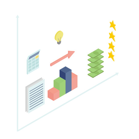 calculator money: Business elements for infographics, isometric flat. Schedule, cubes, calculator, documents, light, money, stars. Illustration