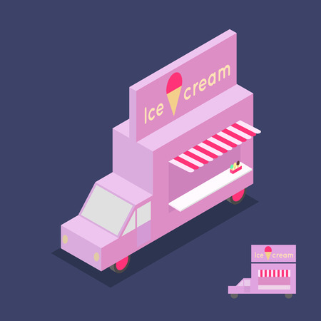 Pink ice cream truck with a banner. Drawn isometric and flat. Vector