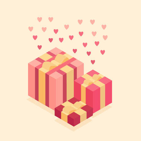 Gift box with beige bows. Isometric Vector