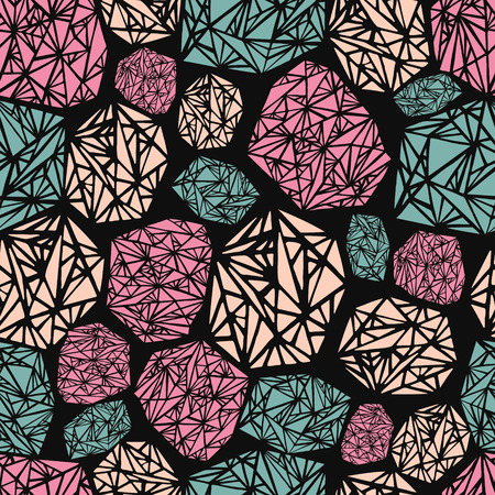 adamant: Seamless pattern geometric triangle on black background