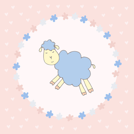 ard: Сard with cute sleeping sheep, framed flower Illustration