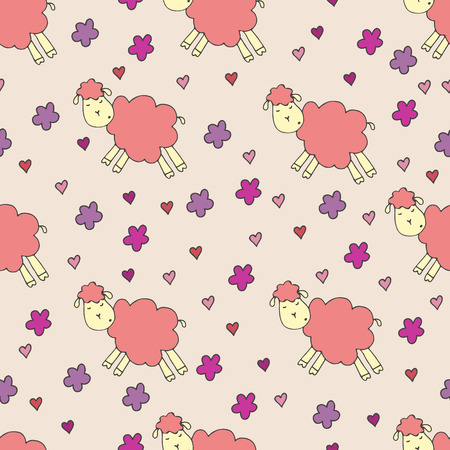 dreamland: Lamb, hearts and flowers on a beige background Illustration