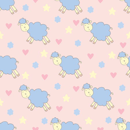 pattern with cute sheep and flowers, hearts, stars Vector