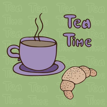 thea: Cup of tea and a French croissant  on a green background with the words Thea Time