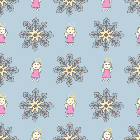 pink dress: Pattern with a sweet angel in pink dress and snowflakes Illustration