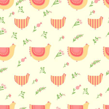 鶏と花イースターのかわいいパターン  イラスト・ベクター素材