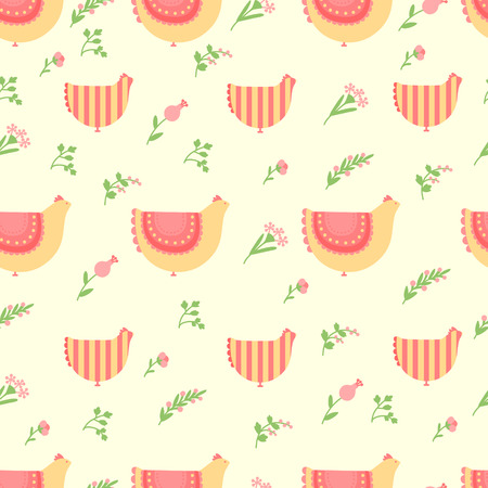 Cute pattern for Easter with  hens and flowers 일러스트