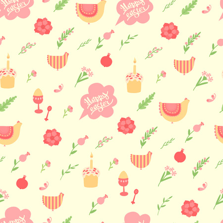 Cute pattern for Easter with the inscription, cakes, eggs, hens and flowers Vector